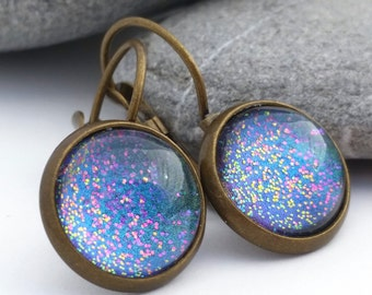 Blue Abyss - Rainbow Glitter Earrings - Color Shifting Ocean Jewelry - Color Changing Magical Earrings - Stud Earrings
