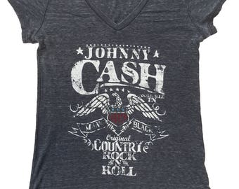 A Tribute To Johnny Cash LAdies V Neck T Shirt