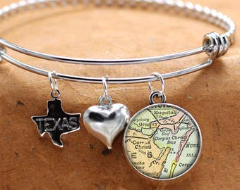Map Charm Bracelet Corpus Christi Texas State Of TX Bangle Cuff Bracelet Vintage Map Jewelry Stainless Steel Bracelet Gifts For Her