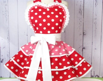 Cherry Bubblegum Apron for Pinup Girls Red and Pink Made to order