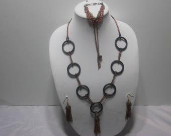 Handmade Black Hoop Necklace Set