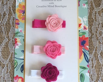 Flower Bloom Hair Clip - Trio of Felt Roses in Shades of Pink