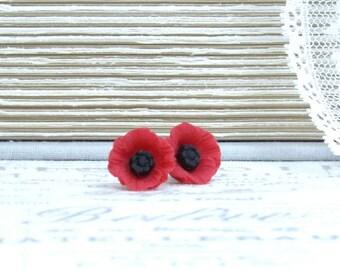 Red Poppy Earrings Poppy Stud Earrings Red Poppy Jewelry Red Flower Studs Surgical Steel Studs