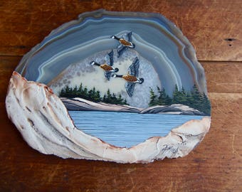 Canada Geese Art, painting on agate, rock art Ramon, nature painting, cottage decor, bird lover gift, Canadian Shield art, flock birds art