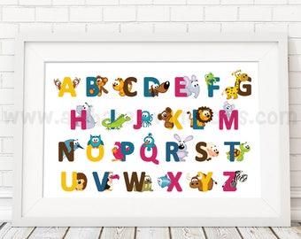 Alphabet Poster, Playroom Poster, Nursery Poster, Alphabet Nursery Art, Nursery Wall Art, Alphabet Art, Alphabet Wall Art, Poster  22-0034