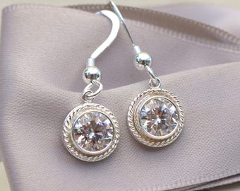CZ Bezel Charm Earrings with Sterling earwires