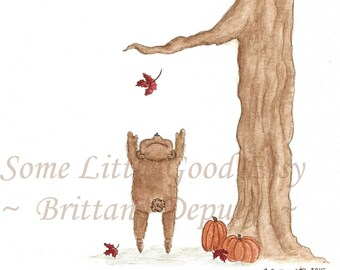 Small Bear Reaches for a Leaf Note Cards, Blank Autumn Notecards, Thanksgiving Cards, Watercolor Fall Cards