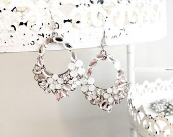 Opal floral earrings, floral rhinestone earrings, white opal bridal earrings, garden wedding earrings, spring bridal earrings, statement