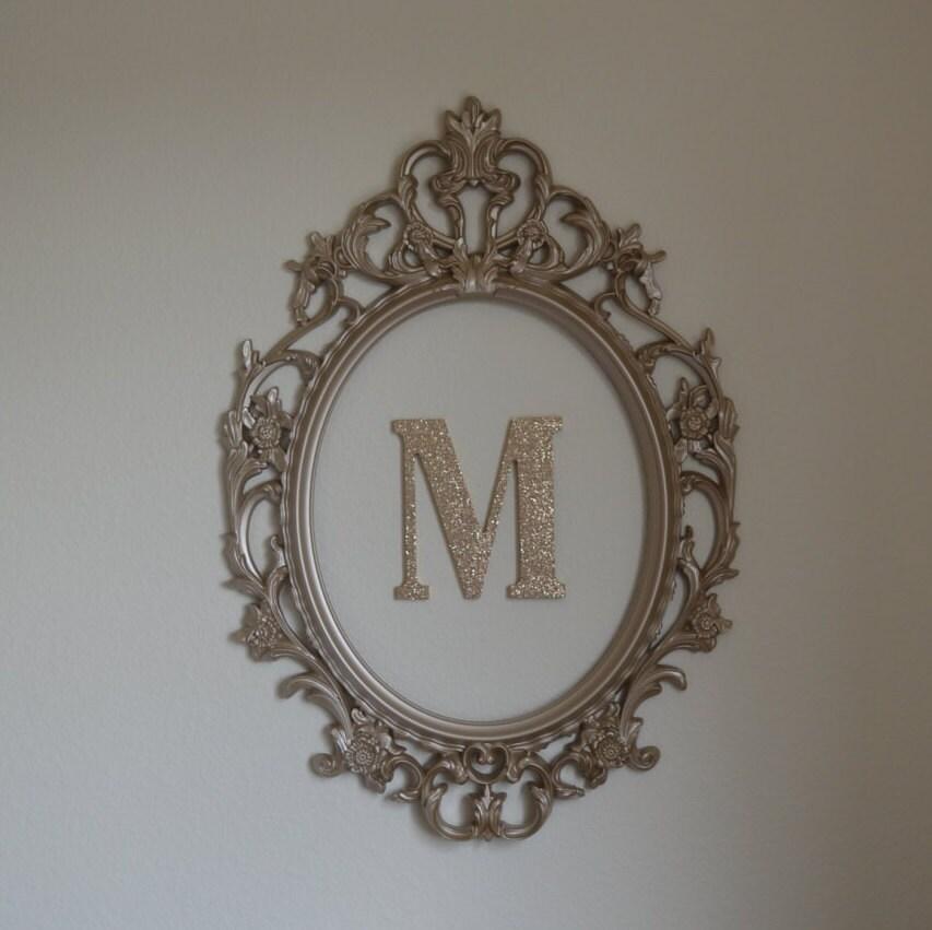 Large Baroque oval frame-Ornate nursery frame and letter