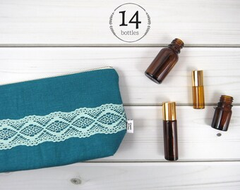 Classic Essential Oil Bag, Essential Oil Case  - ZOE in Deep Lake - 14 bottles - linen and lace zipper pouch essential oil bag project, oils