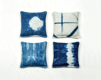 Indigo Shibori Lavender Sachet – Hand Dyed Linen in Geometric Patterns