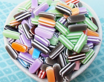 100x 13mm Resin Long Stripe beads in multicolors Candy Cane Jelly Bean