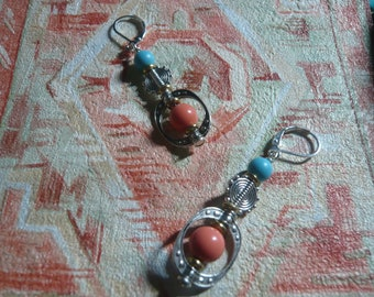 Healing coral & Turquoise stone, silver, women fashion gift