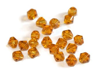 20 6mm caramel glass beads