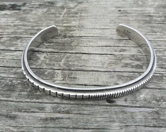 Sterling Silver Cuff Navajo Bracelet Signed J. Nez