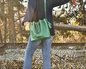 Handcrafted leather bucket bag crossbody bag handbag shoulder bag