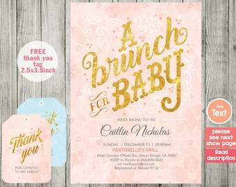 BRUNCH baby shower invitation  - BRUNCH invitation - Baby shower invitation - BRUNCH - boy girl invitation - pink invitation