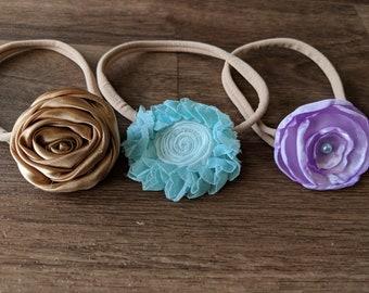 Baby Headband Set,  Baby Shower Gift, Photography Prop, Newborn Prop, Baby Prop, Baby Girl Prop // Brown Aqua Purple  Headband Set