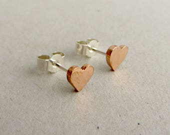 Copper Heart Earrings, Small Copper Studs, Copper Anniversary Gift, 7th Anniversary Gift, Copper Jewellery, Heart Studs, UK Sellers Only