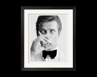 22x28 Print - James Bond and The Saint Roger Moore Downs a Martini Urban Poster