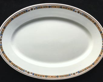 """Vintage Scammell's Trenton China Restaurant Hotel White 14.25"""" Oval Platter with Art Deco Floral Fruit Basket Band in Very Good+ Condition"""
