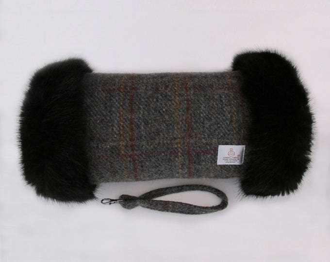Harris Tweed Country Overcheck & Black Faux Fur Trim Hand Muff
