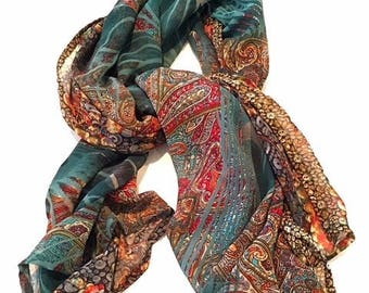 "Jade green chiffon scarf with multi-coloured and patterned design - ""Florentine Glass"""