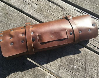 Last One!! Leather Knife Roll: Custom Chef Case for Knives – Walnut Chromexcel Horween