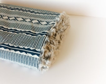 Boho Baby Blanket - Woodland Minky Blanket / Tribal Navy Blanket / Baby Stroller Blanket / Baby Shower Gifts /Bohemian Nursery Bedding