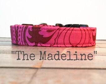Pretty DOG COLLAR, Made to Order, Dog Collar for Girls, Pink Dog Collar, Ruby, Beautiful Dog Collar - The Madeline