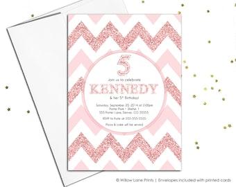 Girls birthday party invitation chevron | 5th birthday party invitations girl | fifth birthday invitations printable or printed - WLP00351
