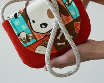 Red shoulder bag for girls with a puppy motif, kids crossbody bag