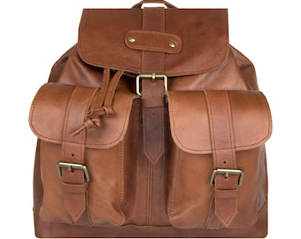 Leather Backpack/Rucksack with Pockets in Vintage Brown - MAHI Leather