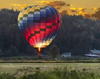Hot Air Balloon at Sunset Photo, Hot Air Baloon Image, Landscape Photography, Nature Photo Sunset