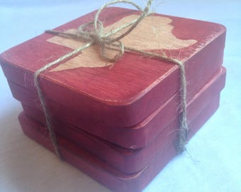Hard Wood Rustic Red Texas Coasters Set of Four MADE TO ORDER