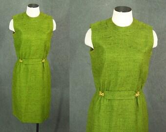 vintage 60s Wiggle Dress - 1960s Olive Green Burlap Wiggle Dress Sz S M