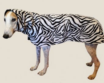Coat for Greyhound with snood (Large). All fleece, zebra print. Black lining