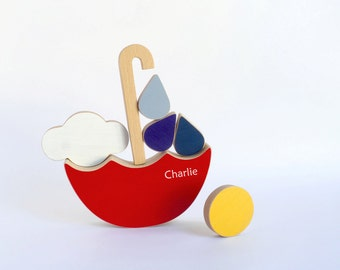 Personalized stacking toy, Kids balancing wooden toy, red umbrella stacker toy