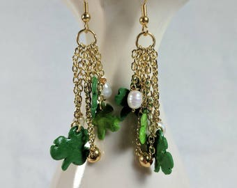 Shamrock and Pearl Earrings, Long Dangles, St Patrick's Day, Clay Shamrocks, Freshwater Pearls, Green and Gold, Handmade Earrings.