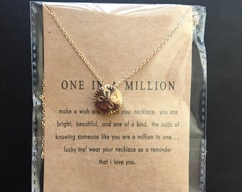 Gold sand dollar necklace, flower necklace