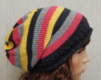 knitted women slouch beanie, handmade winter beanie, striped hat for women, knit slouchy beanies, warm winter beanies, CHOOSE SIZE