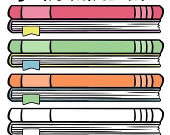Book Clip Art,  School Book Clip Art, Childrens Library Decor, Stack of Books, Reading Clip Art, Library Clip Art, Scrapbook Book Clipart