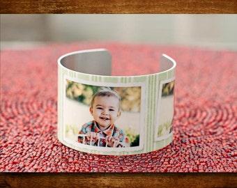 Personalized Modern Stripes Photo Cuff Bracelet