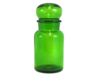 Vintage Green Glass Belgian Apothecary Jar with Bubble Lid (E6963)