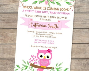 Owl baby shower invitation etsy pink owl baby shower invitation baby girl owl invitation cute baby owl baby shower invite for baby girl digital or printed filmwisefo
