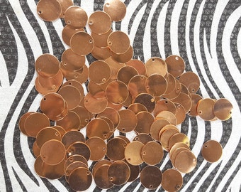 Copper Blanks 1/2 inch Discs Circles Coin Beads, 20 Piece Unfinished Surface With Holes, Pure Solid Copper, Metalworking Supplies, reclaimed
