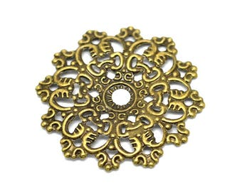 Filigree Embellishments: 10 Antique Bronze Filigree Flower Wraps / Connectors / Brass Filigree Metal Stampings  F16286