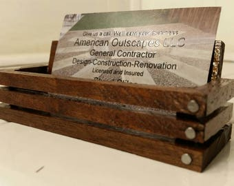 Business Card Holder. Rustic Black Walnut crate style business card holder.