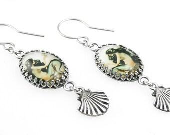 Mermaid Dangle Earrings, Mermaid Jewelry, Vintage Mermaid Images, Mermaid Glass Earrings, Mermaid Drop Earrings