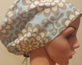 Women's Surgical Cap, Scrub Hat, Chemo Cap, Wallfower Sky